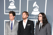 (L-R) Jared Followill, Caleb Followill and Nathan Followill of Kings of Leon arrive at The 53rd Annual GRAMMY Awards held at Staples Center on February 13, 2011 in Los Angeles, California.