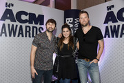(L-R) Dave Haywood, Hillary Scott and Charles Kelley of Lady Antebellum attend the 54th Academy Of Country Music Awards Cumulus/Westwood One Radio Remotes on April 06, 2019 in Las Vegas, Nevada.