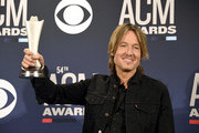 Keith Urban poses with the Entertainer of the Year award in the press room during the 54th Academy Of Country Music Awards at MGM Grand Hotel & Casino on April 07, 2019 in Las Vegas, Nevada.
