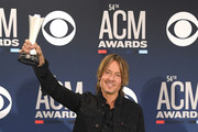 Entertainer of the Year award winner Keith Urban poses in the press room during the 54th Academy Of Country Music Awards at MGM Grand Garden Arena on April 07, 2019 in Las Vegas, Nevada.