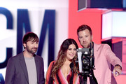 (L-R) Dave Haywood, Hillary Scott, and Charles Kelley of Lady Antebellum speak onstage during the 54th Academy Of Country Music Awards at MGM Grand Hotel & Casino on April 07, 2019 in Las Vegas, Nevada.