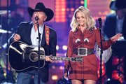 (L-R) George Strait and Miranda Lambert perform onstage during the 54th Academy Of Country Music Awards at MGM Grand Garden Arena on April 07, 2019 in Las Vegas, Nevada.