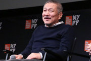 """South Korean director Hong Sang-soo talks at a Q&A for the screening of """"The Day After"""" during the 55th New York Film Festival at The Film Society of Lincoln Center, Walter Reade Theatre on October 7, 2017 in New York City."""