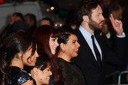 (L-R) Actors Miranda Tapsell, Shari Sebbens, Jessica Mauboy, Deborah Mailman and Chris O'Dowd attends the premiere of 'The Sapphires' during the 56th BFI London Film Festival at Odeon West End on October 15, 2012 in London, England.