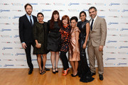 (L-R) Actors   Chris O'Dowd, Deborah Mailman,  Shari Sebbens, Miranda Tapsell,  Festival Director Clare Stewart, Jessica Mauboy and director Wayne Blair attend the premiere of 'The Sapphires' during the 56th BFI London Film Festival at Odeon West End on October 15, 2012 in London, England.