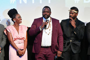 "(L-R) Teyonah Parris, Brian Tyree Henry, and Colman Domingo speak onstage at the ""If Beale Street Could Talk"" U.S. premiere Q&A during the 56th New York Film Festival at The Apollo Theater on October 09, 2018 in New York City."