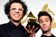 Musicians Ian Axel (L) and Chad Vaccarino of A Great Big World, winners of Best Pop Duo/Group Performance for 'Say Something,' pose in the press room during The 57th Annual GRAMMY Awards at the STAPLES Center on February 8, 2015 in Los Angeles, California.