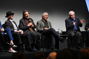 """(L-R) Joe Pesci, Al Pacino, Robert De Niro, and Martin Scorsese at """"The Irishman"""" press conference during the 57th New York Film Festival at Alice Tully Hall, Lincoln Center on September 27, 2019 in New York City."""