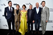 """(L-R) Actors Bobby Cannavale, Willem Dafoe, Gugu Mbatha-Raw, Josh Pais, Bruce Willis and Edward Norton attend the """"Motherless Brooklyn"""" Arrivals during the 57th New York Film Festival on October 11, 2019 in New York City."""