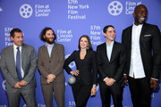 """Adam Sandler, Josh Safdie, Julia Fox, Benny Safdie, and Kevin Garnett attend the """"Uncut Gems"""" premiere during the 57th New York Film Festival at Alice Tully Hall, Lincoln Center on October 03, 2019 in New York City."""