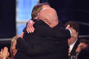 """Actor Bob Odenkirk (L) celebrates his Best Actor in a Drama Series win for """"Better Call Saul"""" with actor Jonathan Banks during the 5th Annual Critics' Choice Television Awards at The Beverly Hilton Hotel on May 31, 2015 in Beverly Hills, California."""