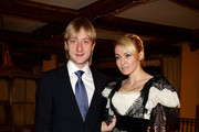 Silver medalist figure skater Evgeni Plushenko (L) and his wife producer Yana Rudkovskaya (R) attend the 5th World Stars Ski Event held at Grand Hotel Sestriere on March 20, 2010 in Turin, Italy.