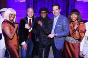 Managing Director Bulova Michael Benavente, Nile Rodgers, and President of Bulova Jeffrey Cohen, with members of CHIC at the Tune of Time Bulova X GRAMMY Event on January 27, 2018 in New York City.