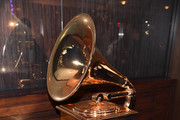 Grammy Award model displayed at the Producers and Engineers Wing 11th Annual GRAMMY Week Event Honoring Swizz Beatz And Alicia Keys at The Rainbow Room on January 25, 2018 in New York City.
