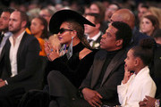 (L-R) Recording artists Beyonce and Jay-Z, and Blue Ivy Carter attend the 60th Annual GRAMMY Awards at Madison Square Garden on January 28, 2018 in New York City.
