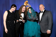 """(L-R) Annie Stoll, """"Weird Al"""" Yankovic, Meghan Foleyand and John Poppo pose backstage at the 61st Annual GRAMMY Awards Premiere Ceremony at Microsoft Theater on February 10, 2019 in Los Angeles, California."""