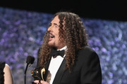 """""""Weird Al"""" Yankovic accepts award for Boxed or Special Limited Edition Package onstage at the 61st Annual GRAMMY Awards Premiere Ceremony at Microsoft Theater on February 10, 2019 in Los Angeles, California."""