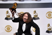 """""""Weird Al"""" Yankovic poses in the press room during the 61st Annual GRAMMY Awards at Staples Center on February 10, 2019 in Los Angeles, California."""