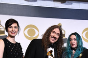 Annie Stoll, 'Weird Al' Yankovic, and Meghan Foley, winners of Best Boxed Or Special Limited Edition Package for 'Squeeze Box: The Complete Works Of 'Weird Al' Yankovic', pose in the press room during the 61st Annual GRAMMY Awards at Staples Center on February 10, 2019 in Los Angeles, California.