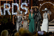 (L-R) Lady Gaga, Jada Pinkett Smith, host Alicia Keys, Michelle Obama, and Jennifer Lopez speak onstage during the 61st Annual GRAMMY Awards at Staples Center on February 10, 2019 in Los Angeles, California.