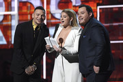 (L-R) Kane Brown, Meghan Trainor and Luke Combs speak onstage during the 61st Annual GRAMMY Awards at Staples Center on February 10, 2019 in Los Angeles, California.