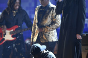 (L-R) Verdine White and Philip Bailey of Earth, Wind & Fire perform with Travis Scott and James Blake onstage during the 61st Annual GRAMMY Awards at Staples Center on February 10, 2019 in Los Angeles, California.