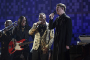 (L-R) Verdine White and Philip Bailey of Earth, Wind & Fire perform with James Blake onstage during the 61st Annual GRAMMY Awards at Staples Center on February 10, 2019 in Los Angeles, California.