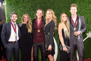 (L-R) Thomas Rhett; Lauren Gregory, Tyler Hubbard, Hayley Stommel, Brittney Marie Cole and Brian Kelley attend the 62nd annual BMI Country awards on November 4, 2014 in Nashville, Tennessee.