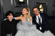 (L-R) Joan Grande, Ariana Grande, and Edward Butera attend the 62nd Annual GRAMMY Awards at Staples Center on January 26, 2020 in Los Angeles, California.