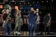 Trombone Shorty (C) with Preservation Hall rehearses onstage for the 62nd Annual GRAMMY Awards at STAPLES Center on January 24, 2020 in Los Angeles, California.