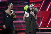 Billie Eilish accepts the Best New Artist award from Alicia Keys and Dua Lipa onstage during the 62nd Annual GRAMMY Awards at Staples Center on January 26, 2020 in Los Angeles, California.