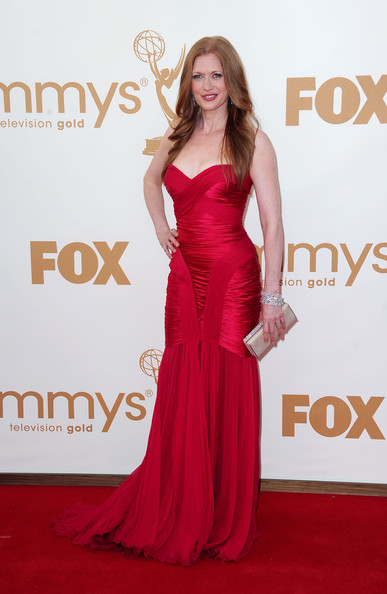 Actress Mireille Enos arrives at the 63rd Annual Primetime Emmy Awards held at Nokia Theatre L.A. LIVE on September 18, 2011 in Los Angeles, California.