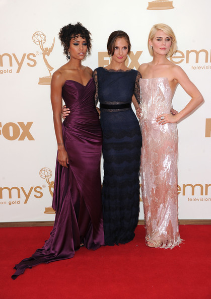( L-R) Actresses Rachael Taylor, Annie Ilonzeh and Minka Kelly arrive at the 63rd Annual Primetime Emmy Awards held at Nokia Theatre L.A. LIVE on September 18, 2011 in Los Angeles, California.