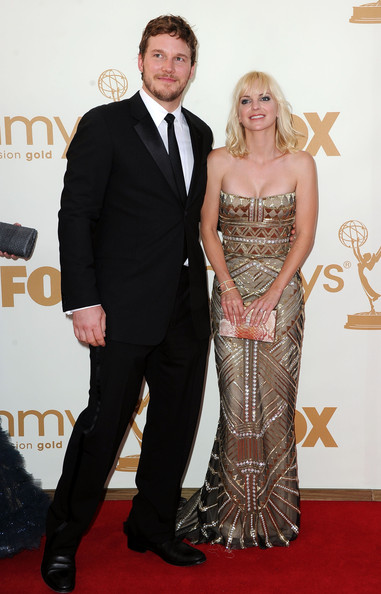 Actor Chris Pratt (L) and actress Anna Faris arrive at the 63rd Annual Primetime Emmy Awards held at Nokia Theatre L.A. LIVE on September 18, 2011 in Los Angeles, California.