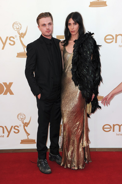 Actor Michael Pitt (L) and model Jamie Bochert arrive at the 63rd Annual Primetime Emmy Awards held at Nokia Theatre L.A. LIVE on September 18, 2011 in Los Angeles, California.