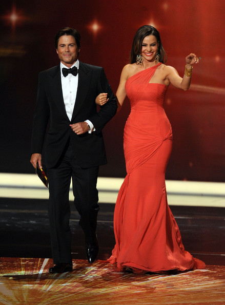 Actors Rob Lowe (L) and Sophia Vergara speak onstage during the 63rd Annual Primetime Emmy Awards held at Nokia Theatre L.A. LIVE on September 18, 2011 in Los Angeles, California.