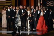 Show creator Steven Levitan (C) with cast and crew accept Outstanding Comedy Series for 'Modern Family' onstage at the 66th Annual Primetime Emmy Awards held at Nokia Theatre L.A. Live on August 25, 2014 in Los Angeles, California.