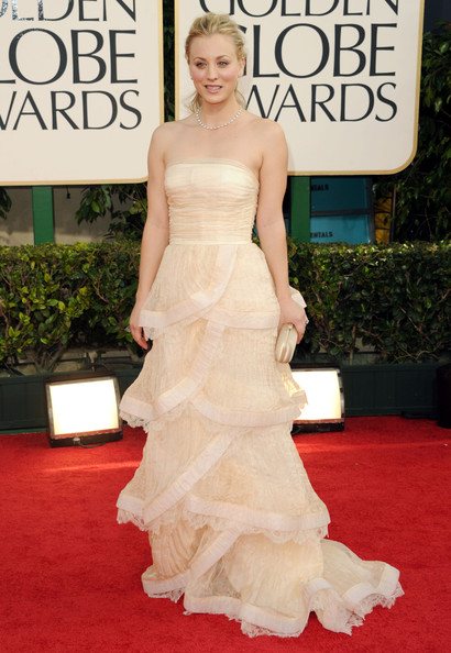 Actress Kaley Cuoco arrives at the 68th Annual Golden Globe Awards held at The Beverly Hilton hotel on January 16, 2011 in Beverly Hills, California.