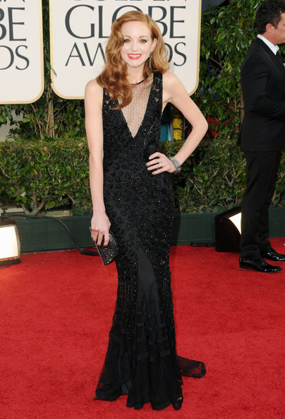 Actress Jayma Mays arrives at the 68th Annual Golden Globe Awards held at The Beverly Hilton hotel on January 16, 2011 in Beverly Hills, California.