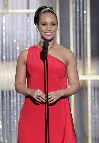 In this handout photo provided by NBC, Presenter Alicia Keys speaks onstage during the Golden Globes at the Beverly Hilton International Ballroom on January 16, 2011 in Beverly Hills, California.