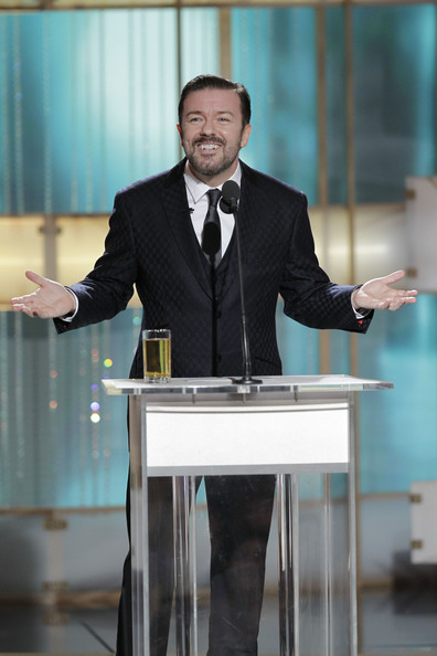 In this handout photo provided by NBC, Host Ricky Gervais speaks onstage during the Golden Globes at the Beverly Hilton International Ballroom on January 16, 2011 in Beverly Hills, California.