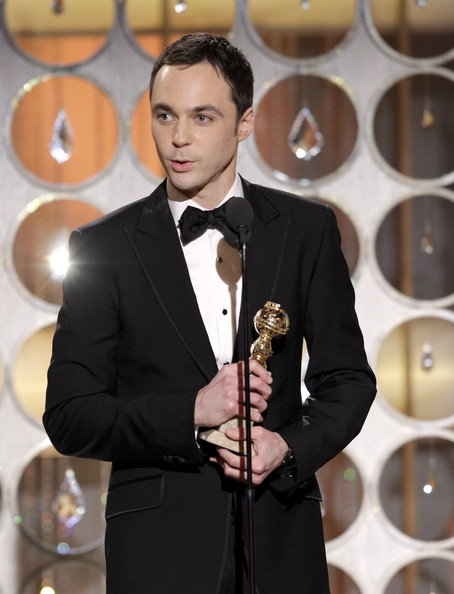 "In this handout photo provided by NBC, Actor Jim Parsons accepts the award for Best Actor in a TV Series, Comedy or Musical for ""The Big Bang Theory"" onstage during the Golden Globes at the Beverly Hilton International Ballroom on January 16, 2011 in Beverly Hills, California."