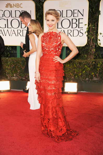 Actress Dianna Agron arrives at the 69th Annual Golden Globe Awards held at the Beverly Hilton Hotel on January 15, 2012 in Beverly Hills, California.