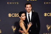 Actor Zoe Kravitz (L) and Karl Glusman attend the 69th Annual Primetime Emmy Awards at Microsoft Theater on September 17, 2017 in Los Angeles, California.