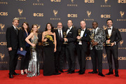 (L-R) Actors Gary Cole, Clea DuVall?, Anna Chlumsky, Julia Louis-Dreyfus, Kevin Dunn, Tony Hale, Matt Walsh, Sam Richardson, and Reid Scott, winners of the award for Outstanding Comedy Series for 'Veep,' pose in the press room during the 69th Annual Primetime Emmy Awards at Microsoft Theater on September 17, 2017 in Los Angeles, California.