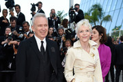 Jean-Paul Gaultier  and Tonie Marshall attend the 70th Anniversary of the 70th annual Cannes Film Festival at Palais des Festivals on May 23, 2017 in Cannes, France.