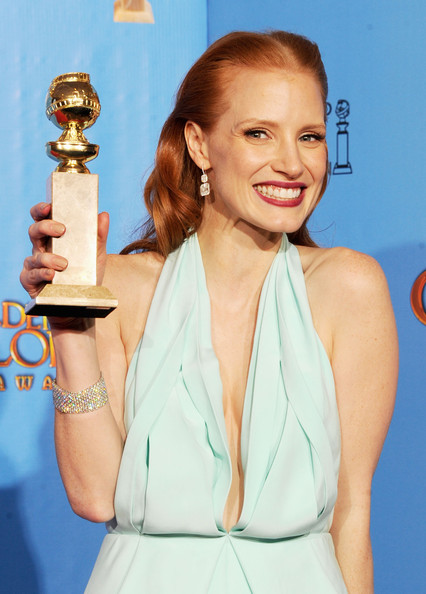 "Actress Jessica Chastain, winner of Best Actress in a Motion Picture (Drama) for ""Zero Dark Thirty,"" poses in the press room during the 70th Annual Golden Globe Awards held at The Beverly Hilton Hotel on January 13, 2013 in Beverly Hills, California."