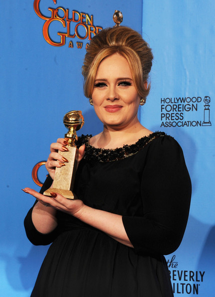"Singer Adele, winner of Best Original Song for a Motion Picture for ""Skyfall"" from ""Skyfall,"" poses in the press room during the 70th Annual Golden Globe Awards held at The Beverly Hilton Hotel on January 13, 2013 in Beverly Hills, California."