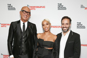 (L-R) Honorees Gucci CEO Marco Bizzarri, Solange Knowles and Founder and CEO of Farfetch Jose Neves attend the 70th Annual Parsons Benefit on May 21, 2018 in New York City.