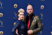 Rachel Reichard (L) and Chris Sullivan attend the 70th Emmy Awards at Microsoft Theater on September 17, 2018 in Los Angeles, California.
